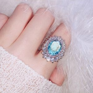 925 Silver Aquamarine Gemstone Ring